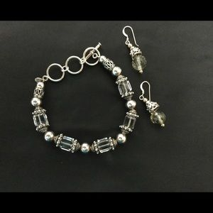 Silpada Crystal & Sterling Bracelet w/ Earrings
